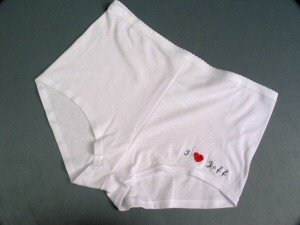 Personalized Embroidered White Cotton Boy Shorts Panties Large