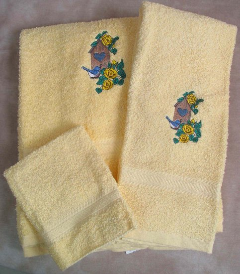 Embroidered Birdhouse with Blue Birds and Roses on Yellow Wash Hand Bath Towel Set