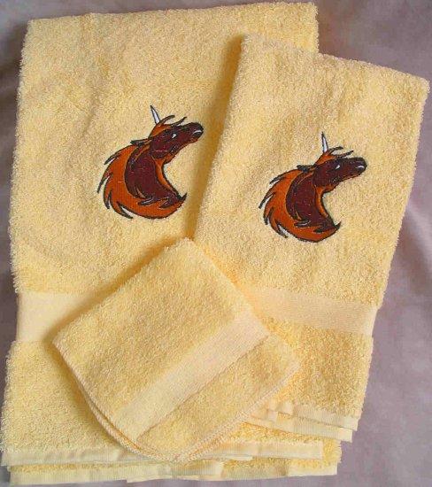 Embroidered Golden Unicorn on Yellow Wash Hand Bath Towel Set