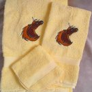 Embroidered Golden Unicorn on Yellow Wash Hand Bath Towel Set