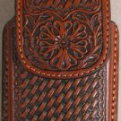 Brown Leather Basket Weave Cell Phone Case