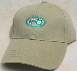 Embroidered Green Tractor Khaki Cap