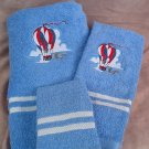 Embroidered Hot Air Balloon on Blue Bath Towels Set