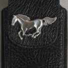 Black Leather Cell Phone Case With Horse Concho