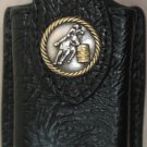 Black Leather Cell Phone Case With Barrel Racer Concho