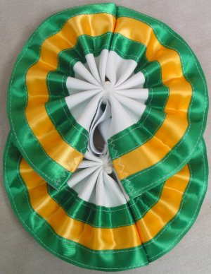 Two Color Draft Horse Tail Bow  - Green & Yellow