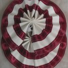 Two Color Draft Horse Tail Bow  - Burgundy & White
