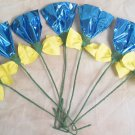 Rosettes Horse Mane Flowers - Blue & Yellow