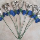 Rosettes Horse Mane Flowers - Silver & Blue
