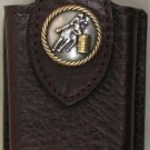 Dk Brown Leather Cell Phone Case With Barrel Racer Concho