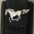 Black Leather Basket Weave Cell Phone Case, Horse Concho