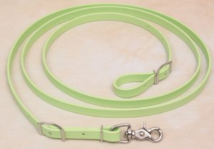 Beta Biothane Roper Reins 8 Foot, 5/8 Inch Lt Green, 1 Snap