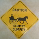 Single Driving Cart and Horse Caution Sign