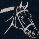 Embroidered Bridled Horse Head on Dark Blue Bath Towel Set