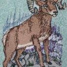 Embroidered big horn sheep on Medium Blue Wash Hand Bath Towel Set
