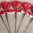 Rosettes Miniature Horse Mane Flowers - Red & White