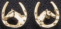 Exselle Horse Head and Horseshoe Earrings - Gold