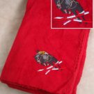 Polyester Jumping Horse Red Throw Blanket