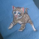 Polyester Tiger Stripe Kitten Blue Throw Blanket
