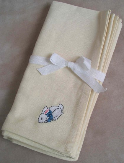 Embroidered Rabbit with Bow Cream Napkins Set of Four