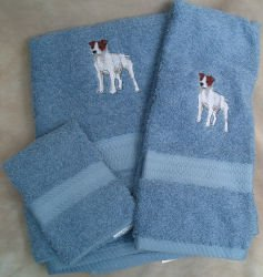 Jack Russell Terrier Dog Embroidered Bath Towels