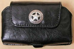 Leather Cell Phone Case Horizontal - Black with Star Concho
