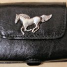 Leather Cell Phone Case Horizontal - Black with Horse Concho