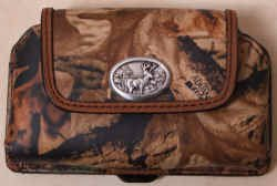 Camoflage Leather Cell Phone Case Horizontal -  with Deer Concho