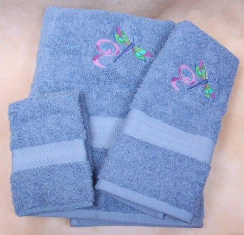Embroidered Dragonfly Swirl on a Medium Blue Wash Hand Bath Towel Set
