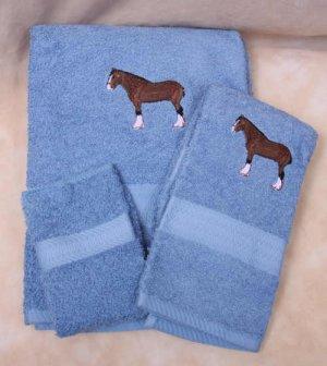 Embroidered Shire Draft Horse on Medium Blue Bath Towel Set