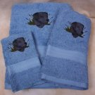 Embroidered Black Labrador DOG Blue Hand Bath Towels Set