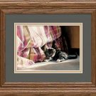 Kitten in the Dust Ruffle Framed Art