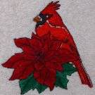 Embroidered Cardinal and Poinsettia on Cream Wash Hand Bath Towels Set