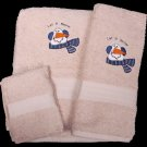 Embroidered Let It Snow Snowman on Beige Wash Hand Bath Towels Set