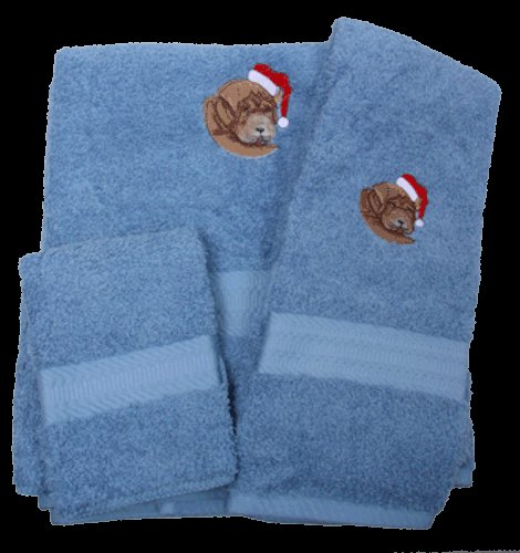 Dog in Santa Hat Embroidered Bath Towels