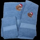 Dog in Santa Hat Embroidered Bath Towels