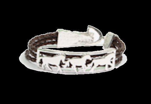 Leather Braided Bracelet with Running Horses
