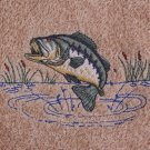 Jumping Bass Fish Embroidered Bath Towels