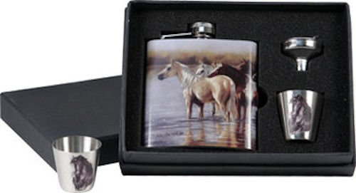 Horse Flask / Shot Glass Gift Pack