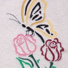 Butterfly and Roses Outline Wash Hand Bath Towels Set