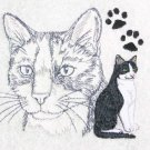 Black and White Tuxedo Cat Embroidered Bath Towels