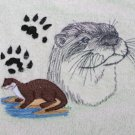 Otter on Beige Embroidered Bath Towels