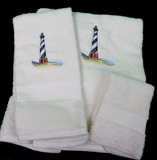 Embroidered Hatteras Lighthouse Cream Wash Hand Bath Towel Set