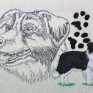 Border Collie on Cream Embroidered Bath Towels
