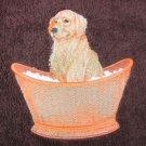 Golden Retriever Dog  on Dark Brown Embroidered Bath Towels