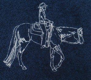 Western Pleasure Horse Outline Embroidered Dark Blue Bath Towels