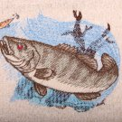 Small Mouth Bass Embroidered Light Gray Bath Towels
