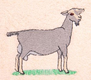 Dairy Goat Embroidered White Bath Towels
