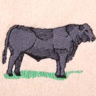 Black Angus Steer Embroidered Medium Green Bath Towels