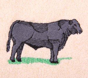 Black Angus Steer Embroidered Medium Green Bath Towels